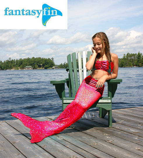 Child's Fantasy Fin Swimmable Mermaid Tail ONLY - Red